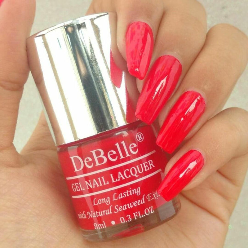 DeBelle Gel Nail Lacquer Combo Set of 5 French Affair, Royale Cocoktail, Moulin Rouge, Mint Amour & Miss Bliss - 8ml each