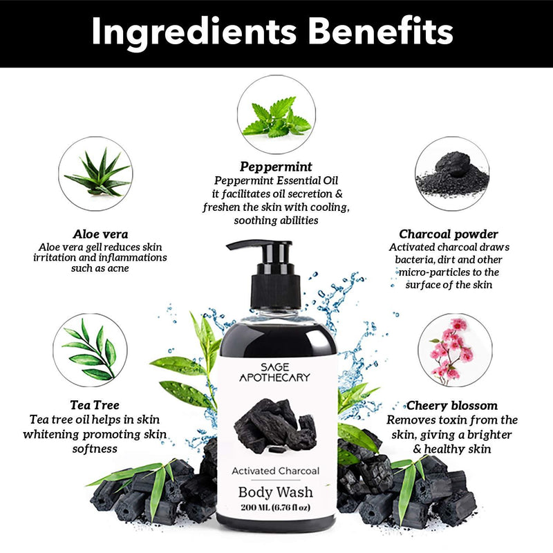 Sage Apothecary Activated Charcoal & Tea Tree Body Wash