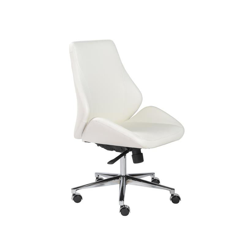 Wheeled White Leatherette Conference or Office Chair
