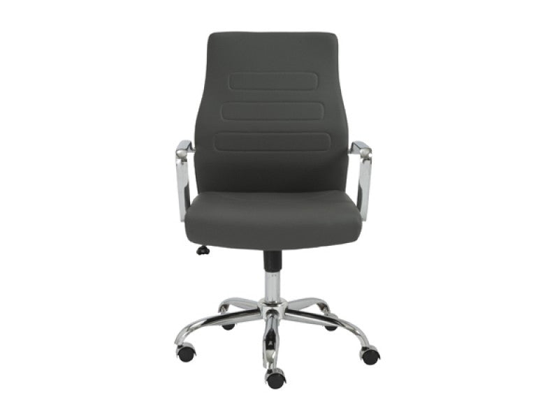 Gray Leather Mid-Back Office Chair with Chrome Base