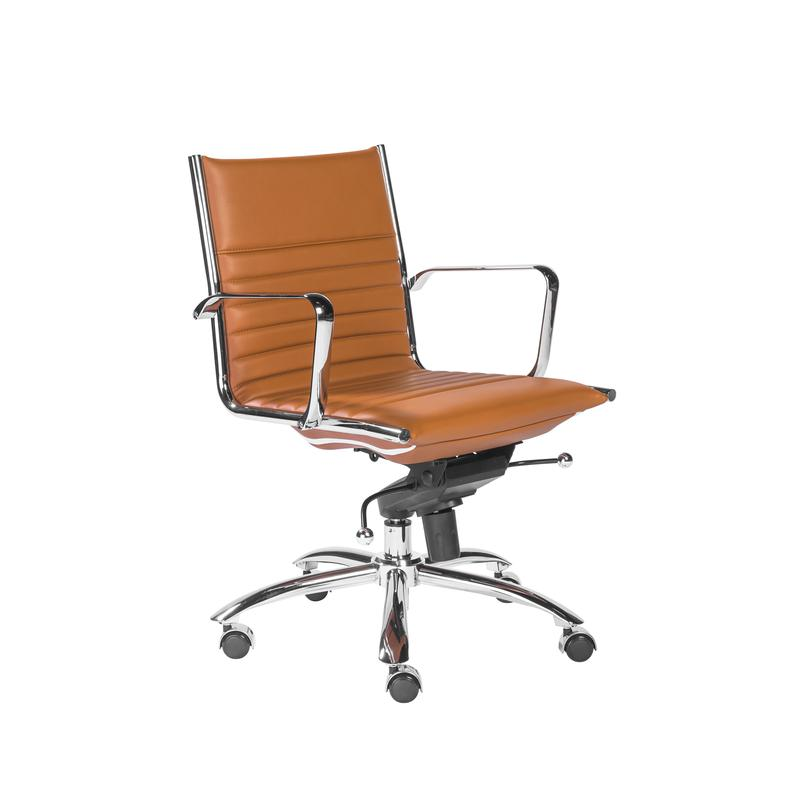 Modern Cognac Leatherette & Chrome Low Back Office Chair