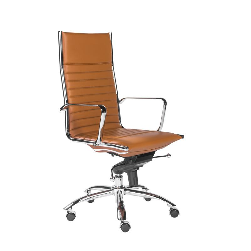 Dirk Collection Cognac Leather & Chrome High Back Office Chair