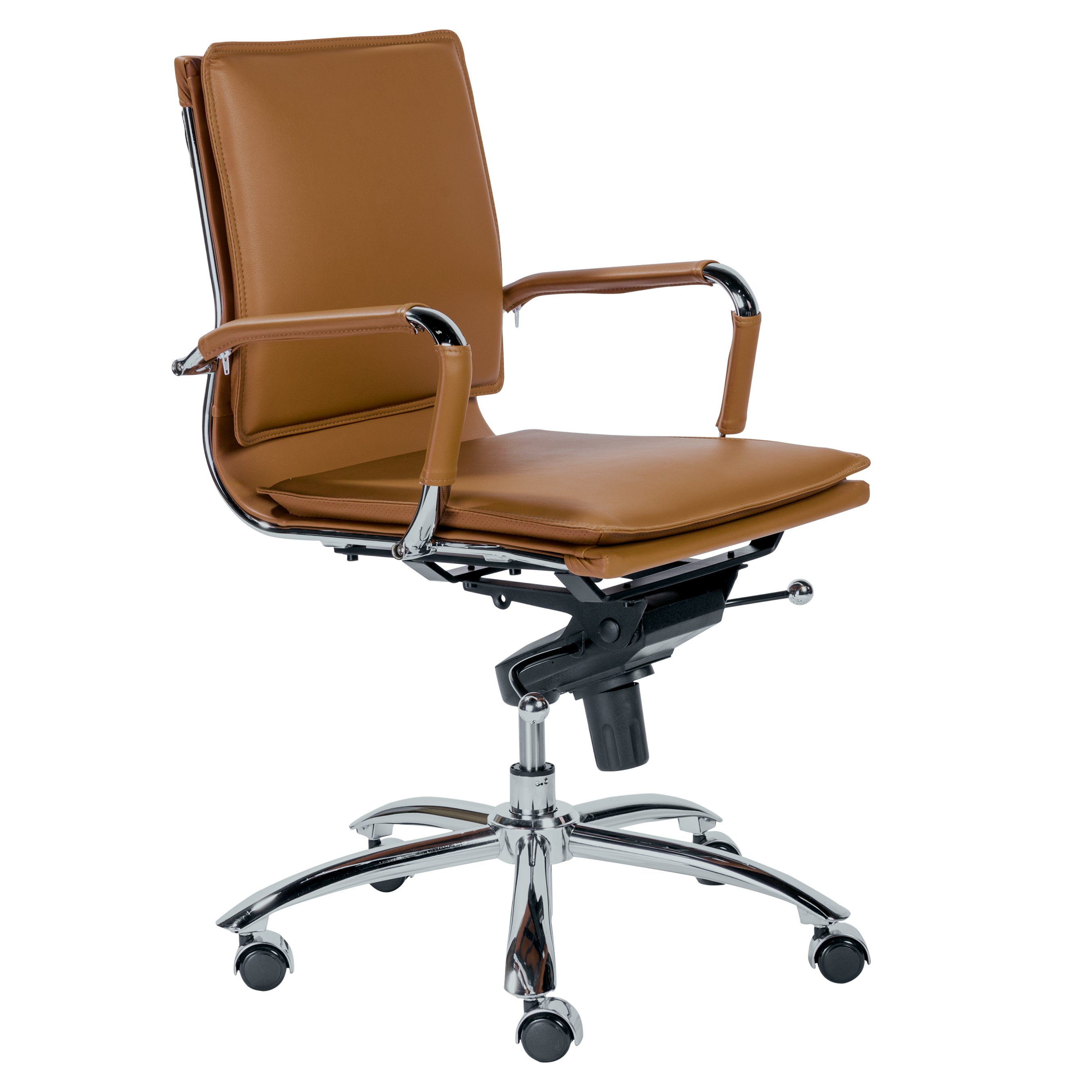 Modern Low Back Leather & Chrome Office Chair in Cognac