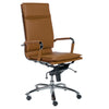 Cognac & Chrome High Back Modern Office Chair