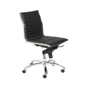 Classic Armless Black Swivel Office Chair
