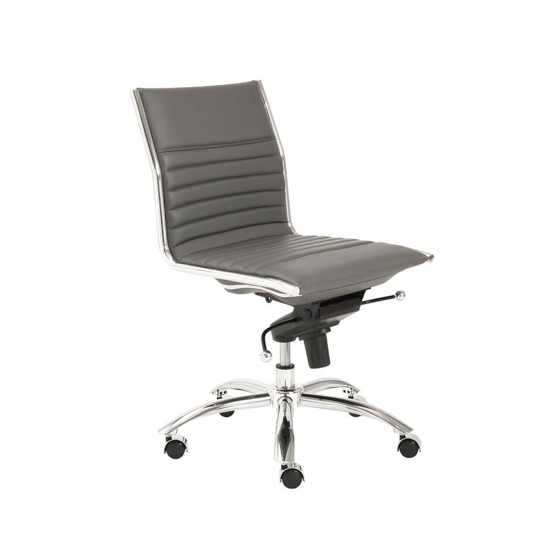 Classic Armless Gray Swivel Office Chair