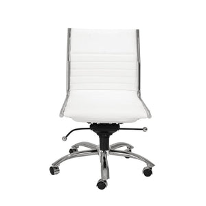 Classic Armless White Swivel Office Chair