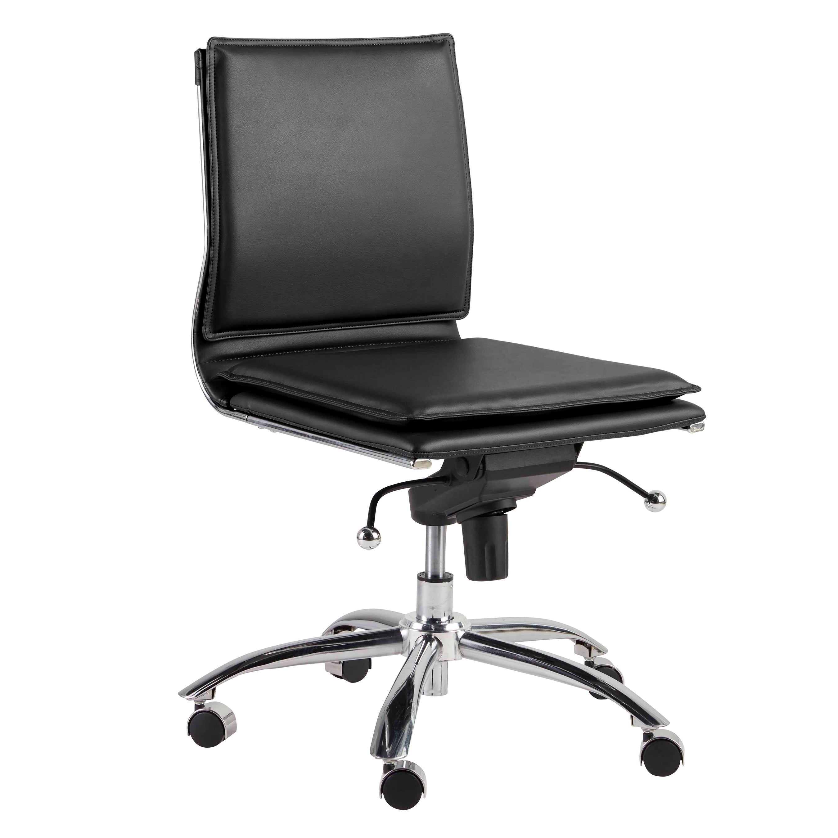 Black Low Back Adjustable Armless Conference or Office Chair