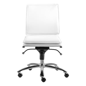 White Low Back Adjustable Armless Conference or Office Chair
