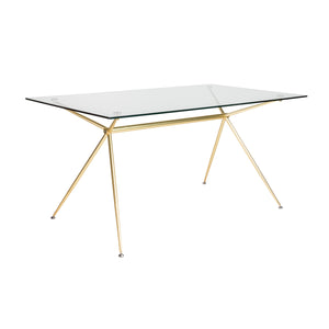 "60"" Premium Glass Executive Desk with Matte Brushed Gold Frame"