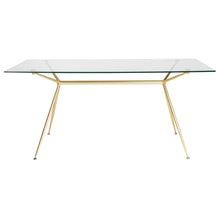 "Load image into Gallery viewer, 66"" Premium Glass Executive Desk with Matte Brushed Gold Frame"