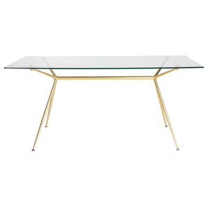"66"" Premium Glass Executive Desk with Matte Brushed Gold Frame"