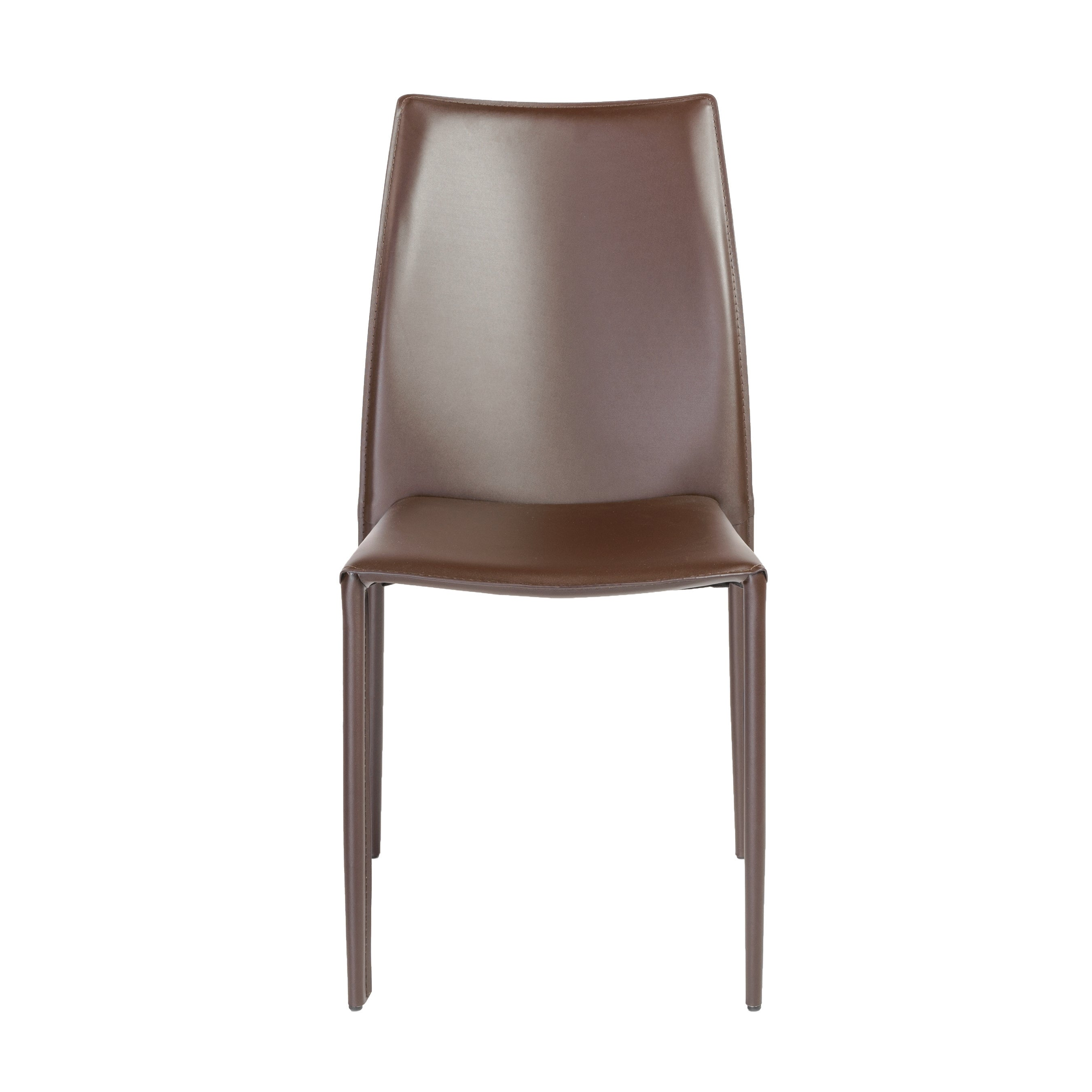 Stylish Guest or Conference Chairs of Brown Regenerated Leather (Set of 4)