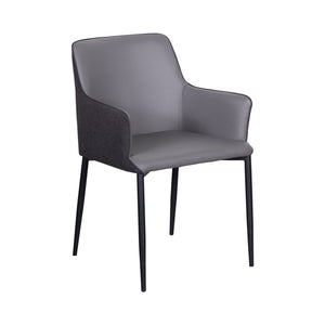 Padded Guest Armchair in Gray Leatherette and Black Fabric