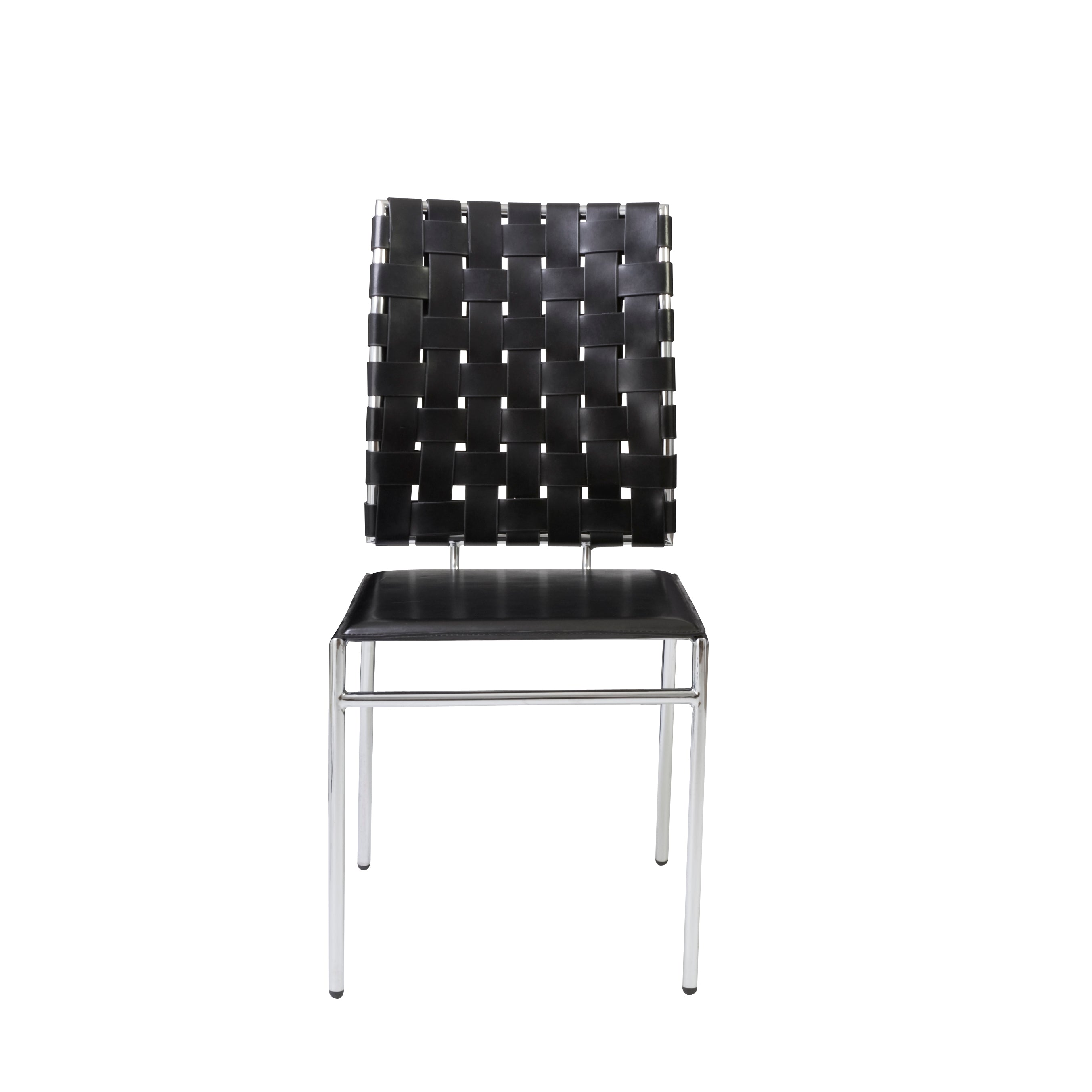 Black Woven Leather Guest or Conference Chair (Set of 4)
