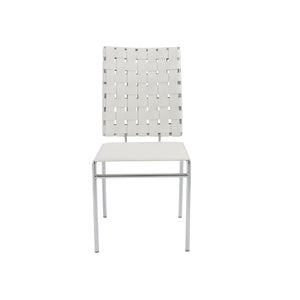 White Woven Leather Guest or Conference Chair (Set of 4)
