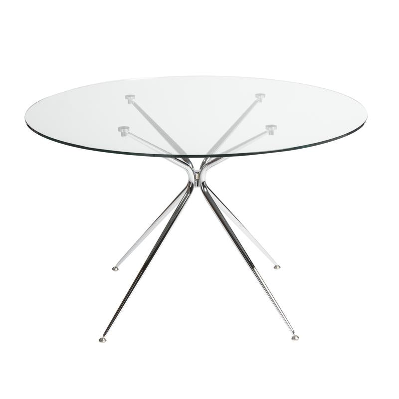 "48"" Round Glass-Top Meeting Table w/ Chrome Base"