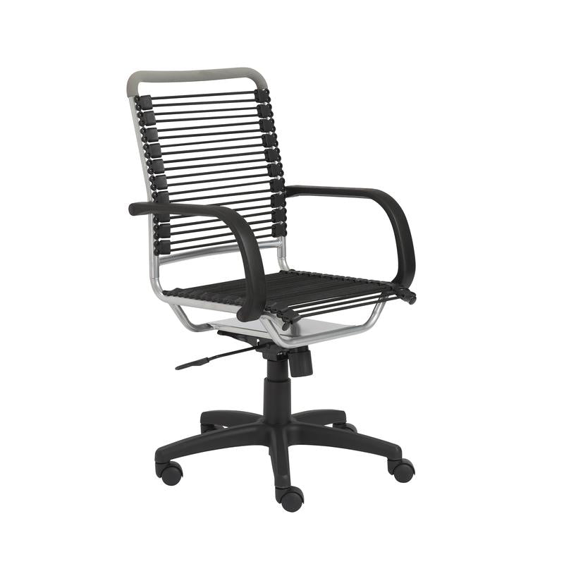Comfortable Rolling Office Chair w/ Bungee Back and Aluminum Accent