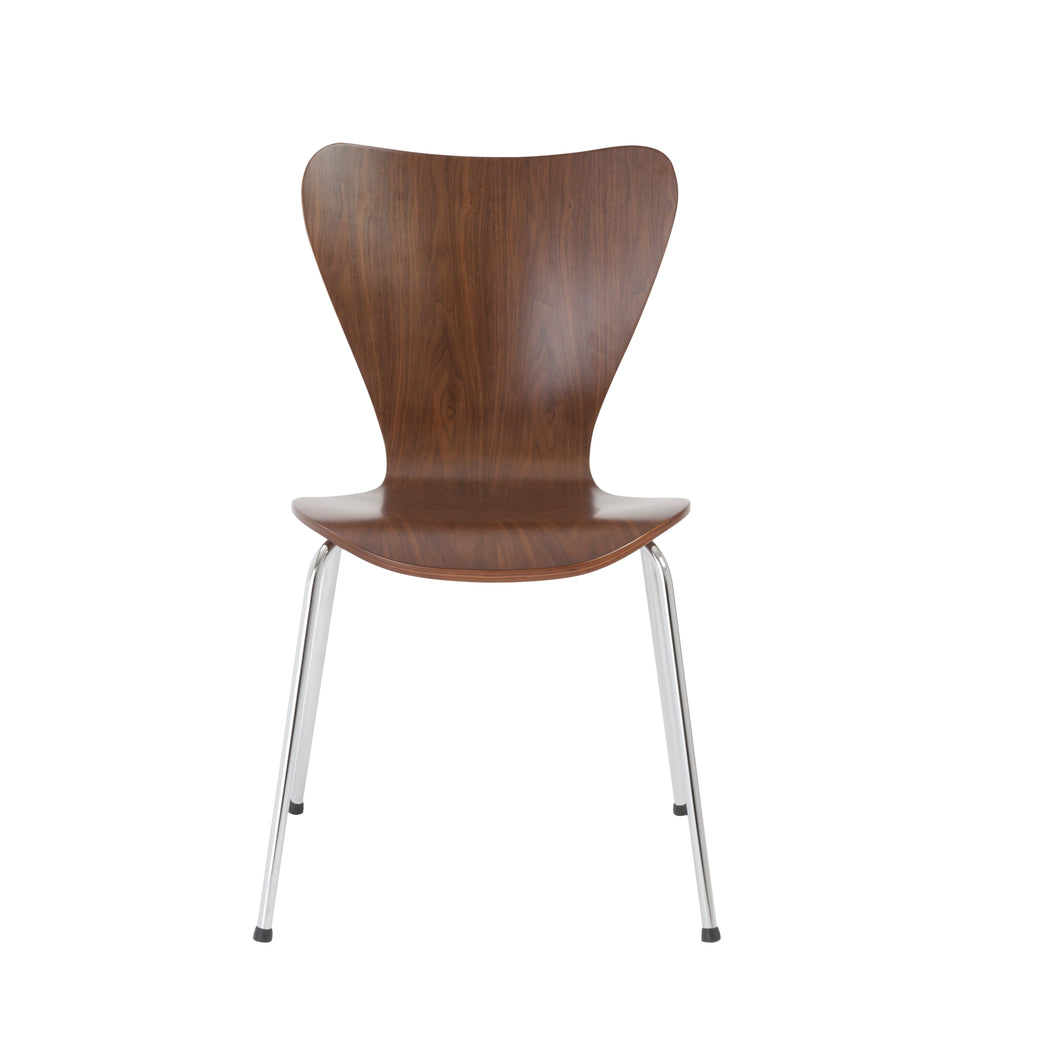 American Walnut & Chrome Stacking Guest Chairs (Set of 4)