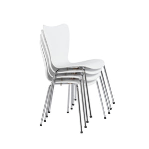 Sleek White & Chrome Stacking Guest Chairs (Set of 4)