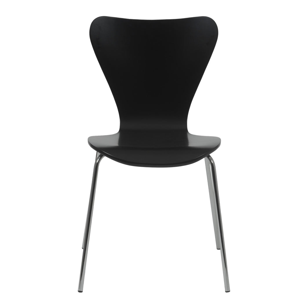 Stylish Conference or Guest Chair in Black Lacquer (Set of 4)