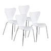 Modern White Walnut Veneer Guest or Conference Chair (Set of 4)