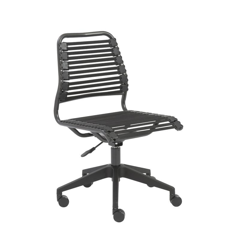 Graphite Black Flat Low Back Office or Conference Chair w/ Wheels