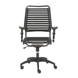 Black Bungee Banded High Back Office Chair in Modern Style