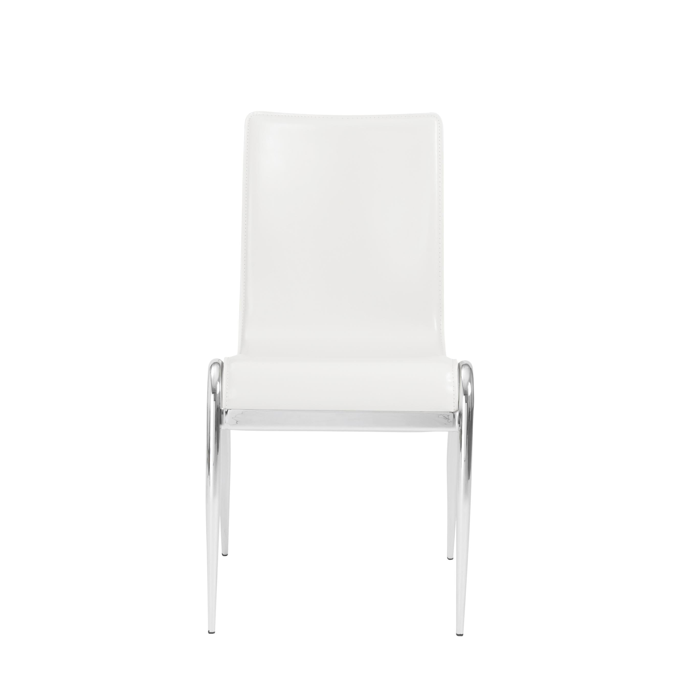 White Leather and Chromed Steel Guest or Conference Chair (Set of 4)