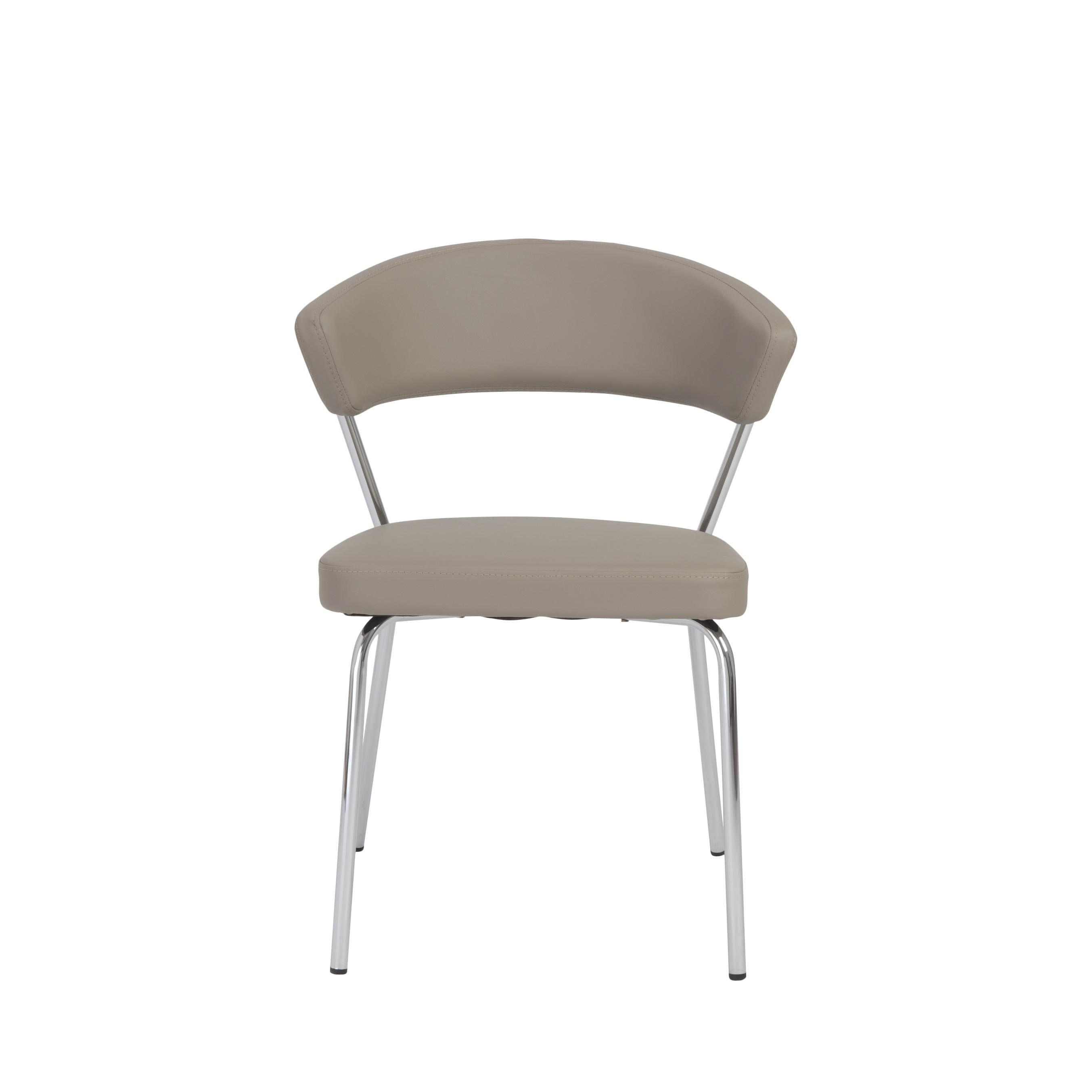 Curved-Back Taupe Leatherette Guest or Conference Chair (Set of 4)