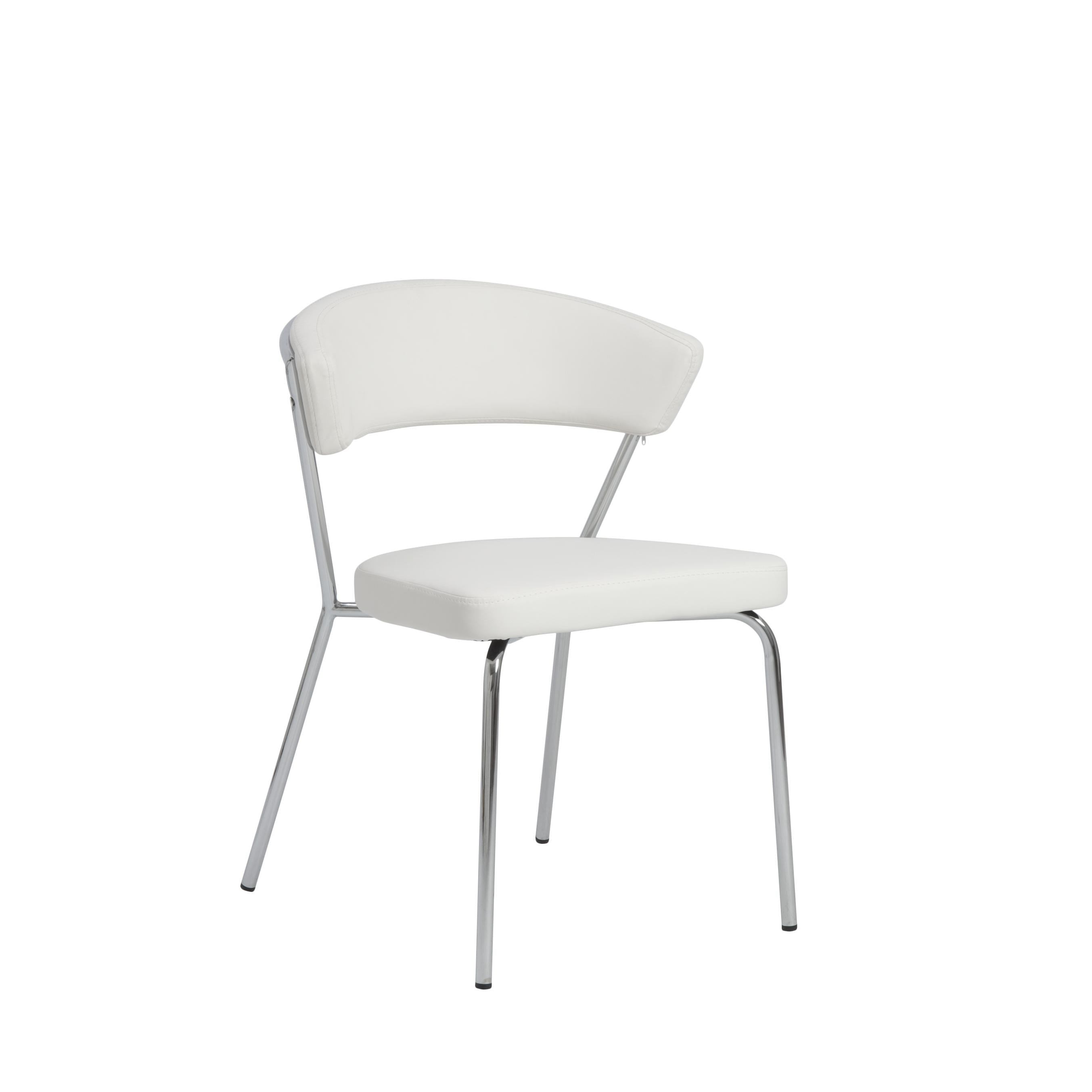 Curved-Back White Leatherette Guest or Conference Chair (Set of 4)