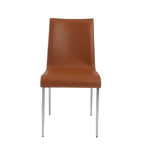 Premium Cognac Leather Conference or Guest Chairs with Steel Legs (Set of 2)