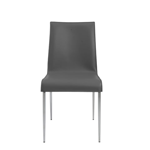 Premium Grey Leather Conference or Guest Chairs with Steel Legs (Set of 2)