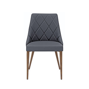 Set of 2 Gray Patterned Leather Guest Chairs with Walnut-Finished Steel Legs