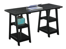 "Load image into Gallery viewer, 54"" Modern Black Double Trestle Computer Desk"