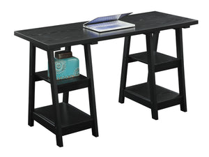 "54"" Modern Black Double Trestle Computer Desk"