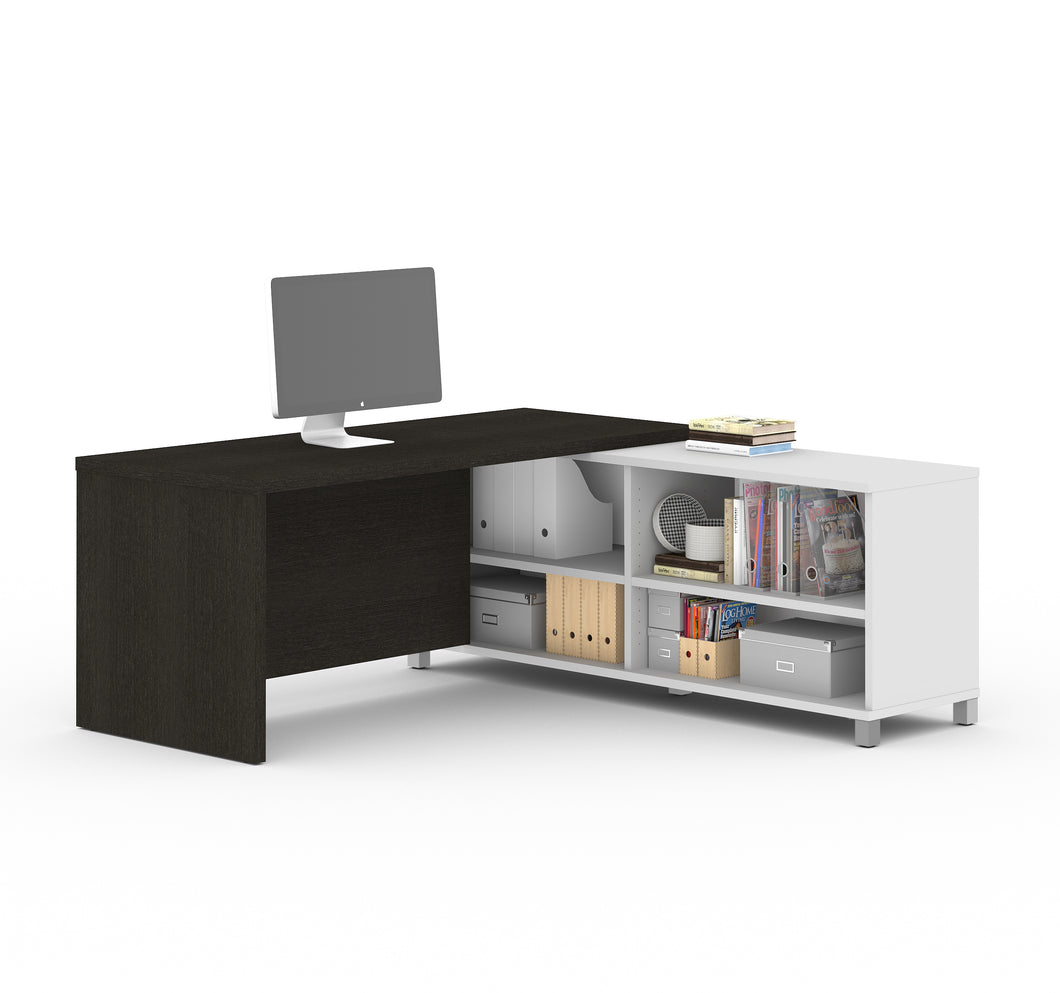 Modern Deep Gray and White L-Shaped Office Desk with Storage
