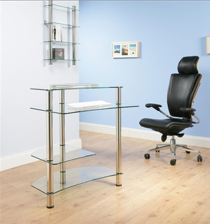 "32"" Modern Compact Clear Glass Computer Desk"