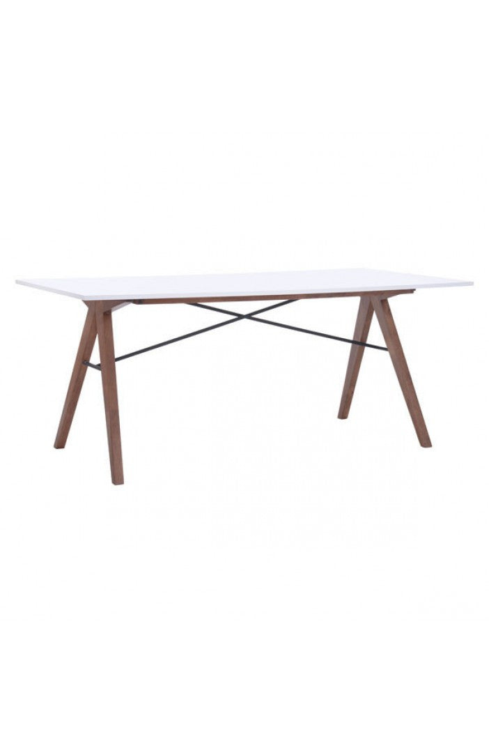 "Modern White & Walnut 71"" Office Desk or Meeting Table"