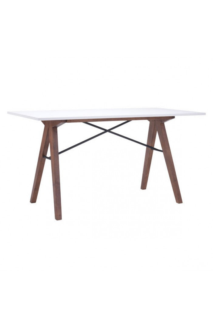 "Modern White & Walnut 55"" Office Desk"