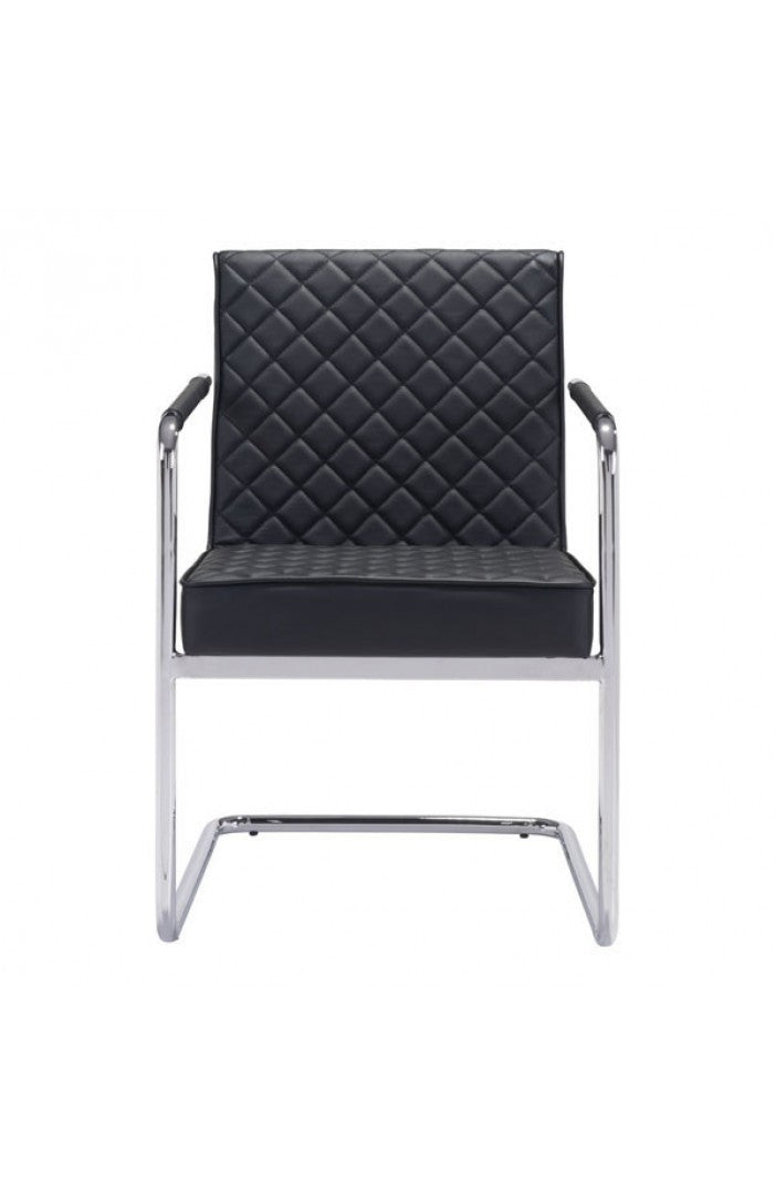 Modern Black Guest / Conference Chair with Chrome Frame