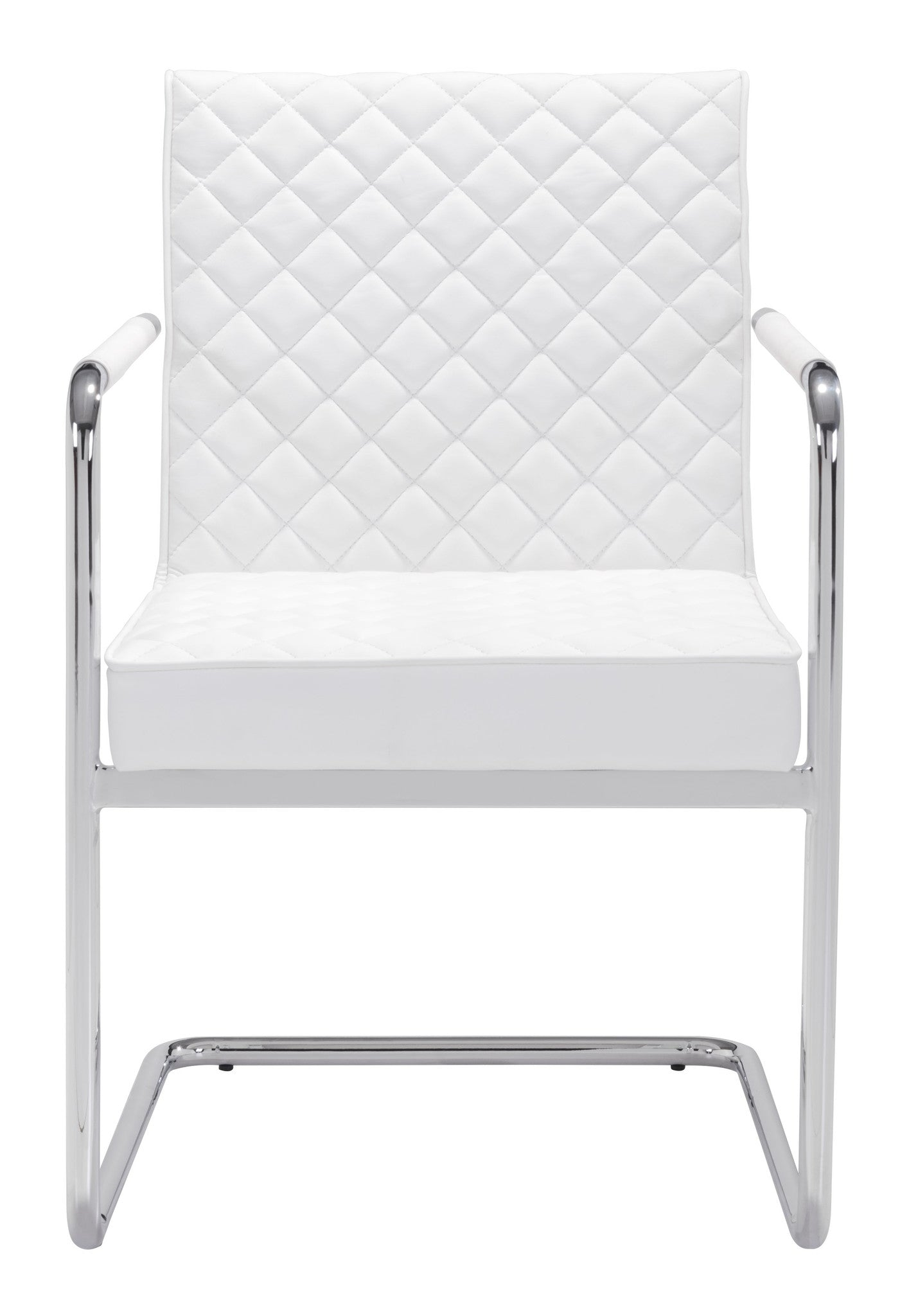 Modern White Guest / Conference Chair with Chrome Frame