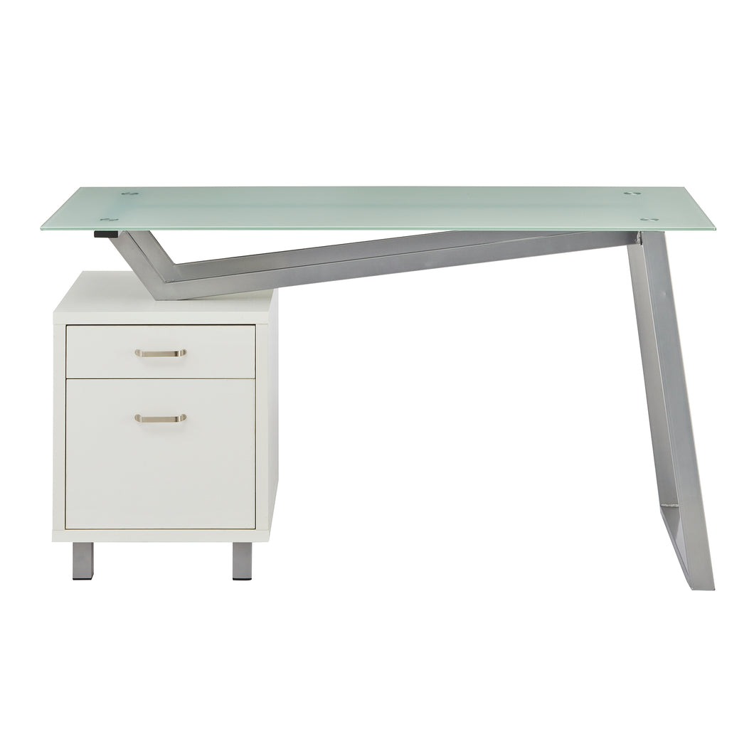Unique V-Style Desk with Glass Top in White
