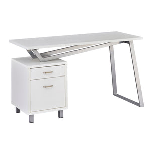 Unique V-Style Desk with Laminate Top in White