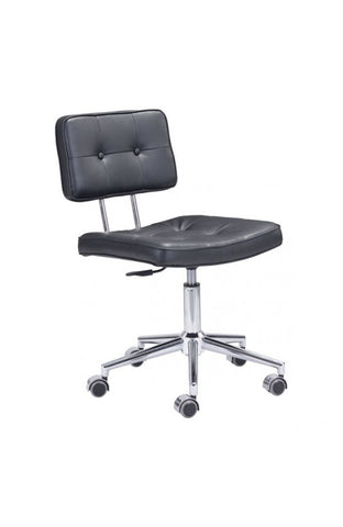 Black Leather Low-Back Modern Office Chair