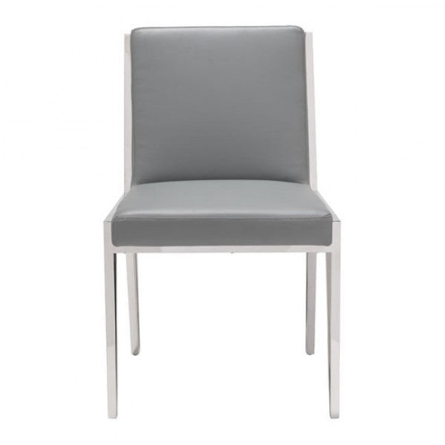 Set of 2 Guest or Conference Chairs in Gray Leatherette