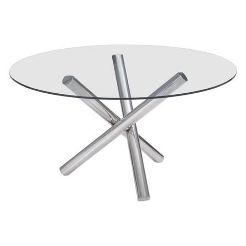 Round Meeting Table w/ Glass Top & Steel Base