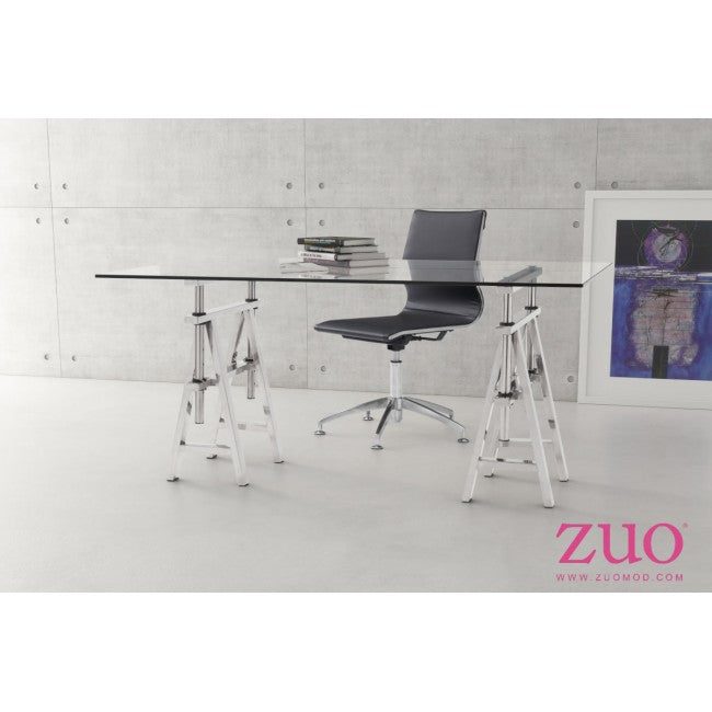 "63"" Glass-Top Office Desk with Stainless Steel Saw-Horse Style"