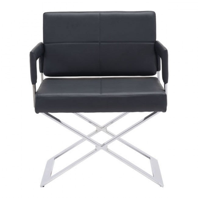 Classic Sturdy Black Leatherette Guest or Conference Chair