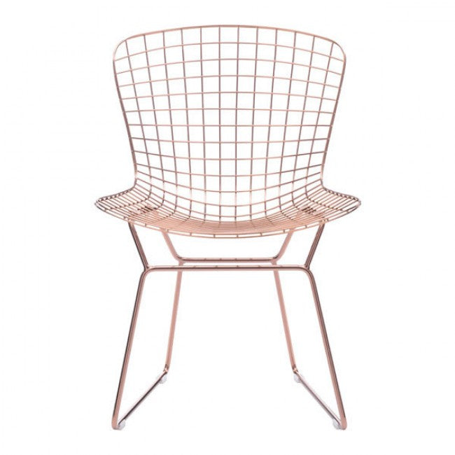 Rose Gold Wire Guest or Conference Chair w/ Optional Cushions